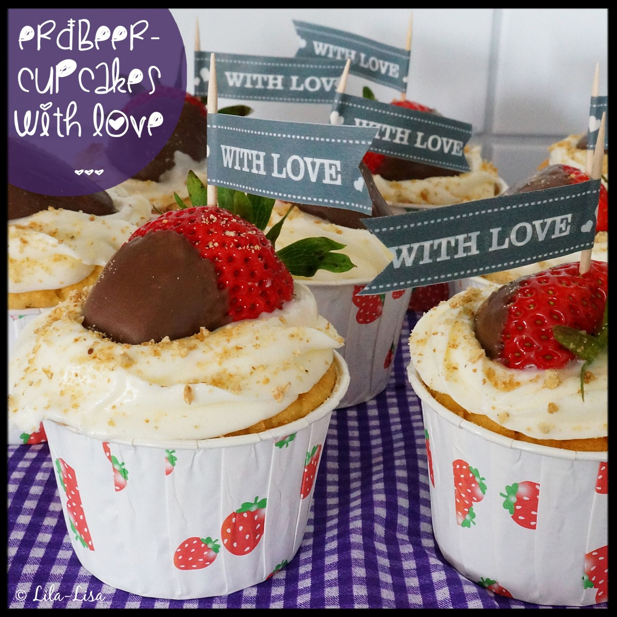 Happy Berry: Erdbeer-Cupcakes mit Frischkäse-Frosting