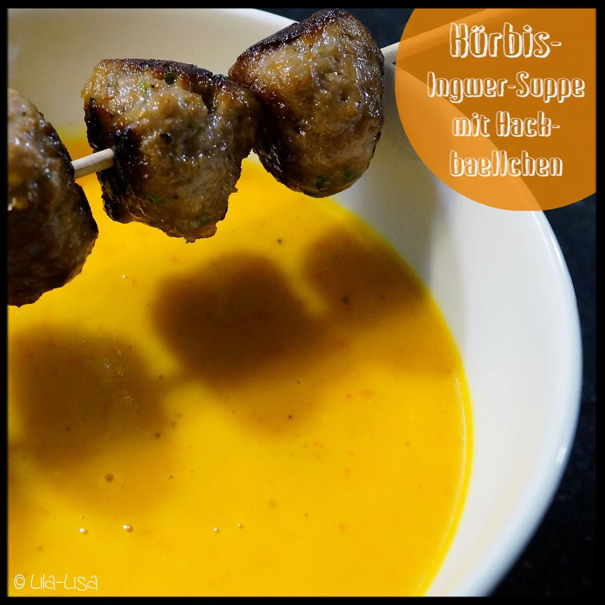 Kürbis-Ingwer-Suppe mit Hackbällchen